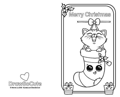 Christmas kitten christmas card draw so cute for Christmas cards coloring pages