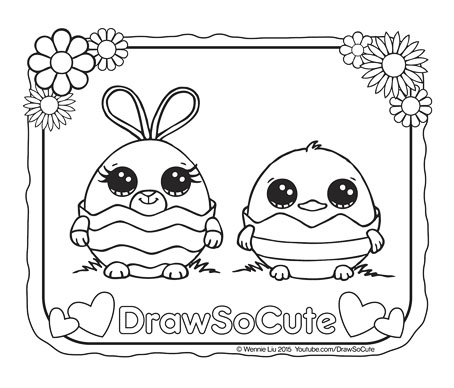 Easter Eggs Coloring Page Draw So Cute