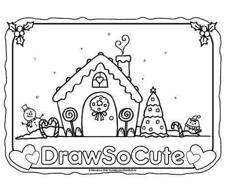 free gingerbread house coloring page draw so cute
