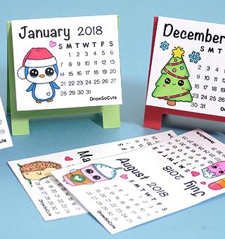 Mini 2018 calendar diy draw so cute for How to make a cute calendar