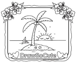 Free Coloring Page Of An Island With Coconut Tree Draw