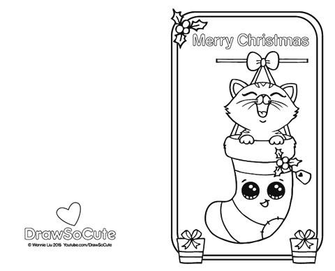 Christmas Kitten, Christmas Card – Draw So Cute